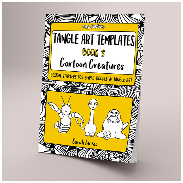 Tangle Art Templates Book 3: Cartoon Creatures